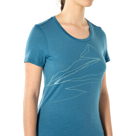 Icebreaker Tech Lite Sunrise Summit Low Crewe T-shirt Dames, blue spruce